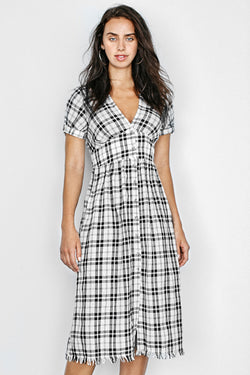 Plaid Buttoned V-Neck Midi Dress