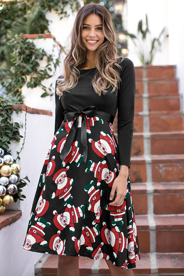 Santa Print Long Sleeve Midi Dress