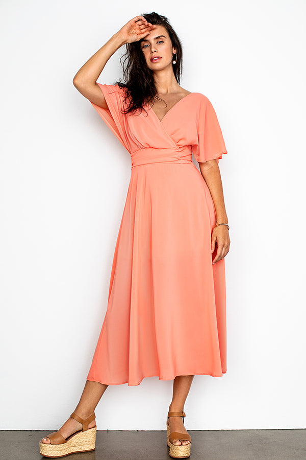 Peachy V Design Maxi Dress