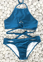Cupshe Blue Sea Halter Bikini Set