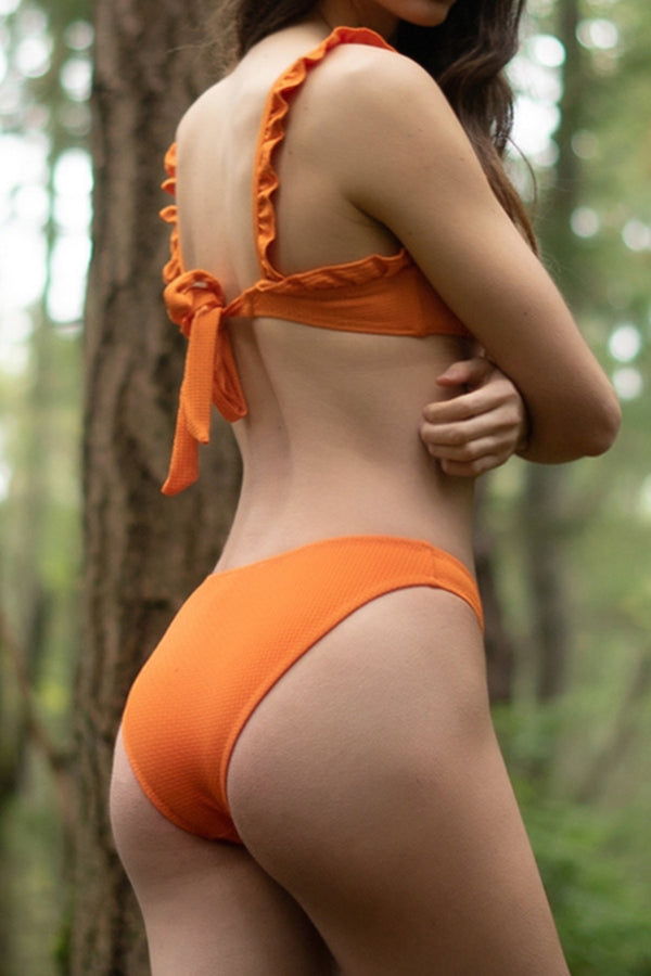 Vibrant Orange Bikini With Ruffles