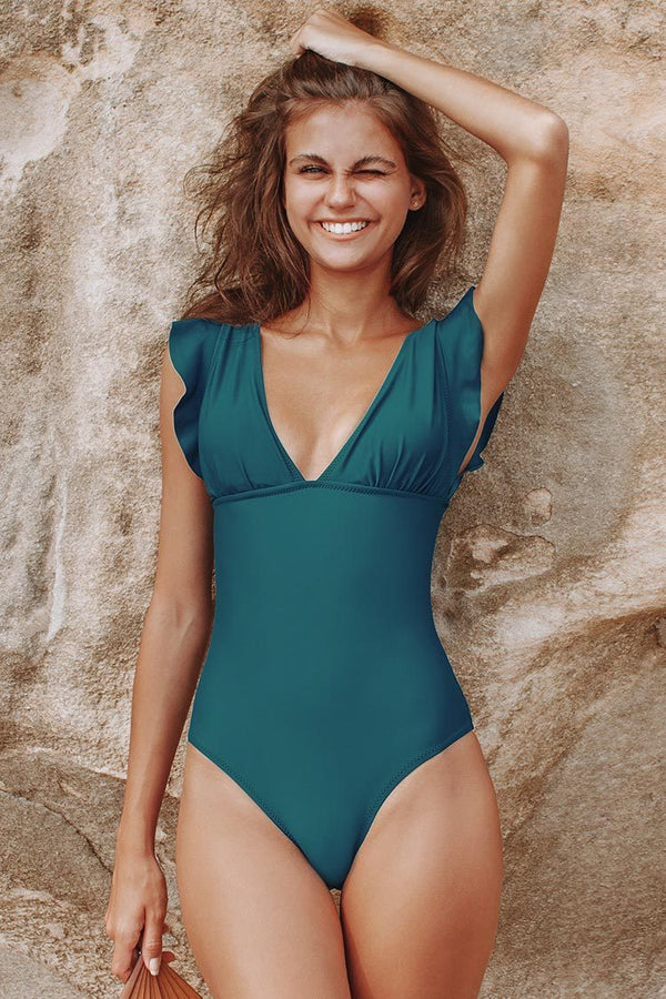 Teal Ruffled V-neck One-Piece Swimsuit