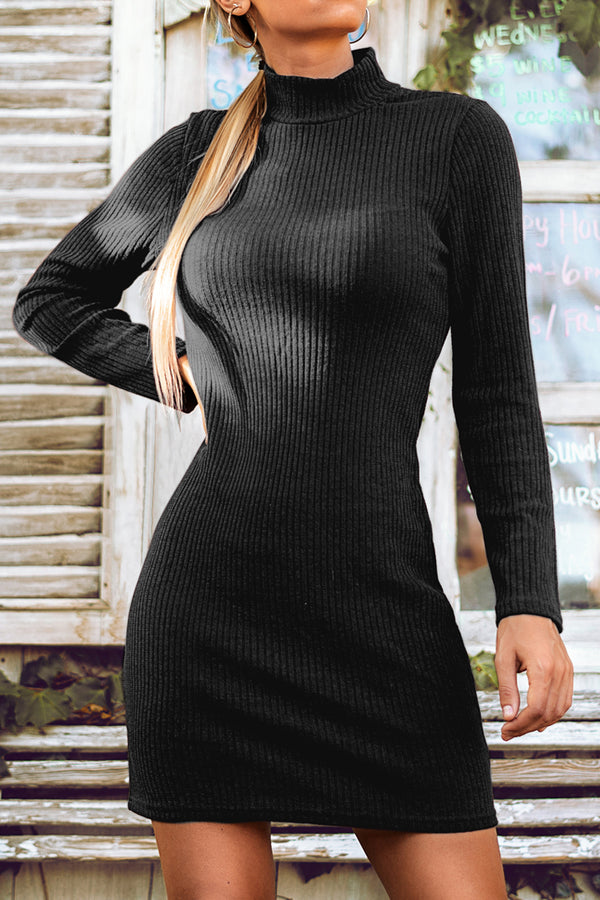 Black Long Sleeve Mock-Neck Mini Dress