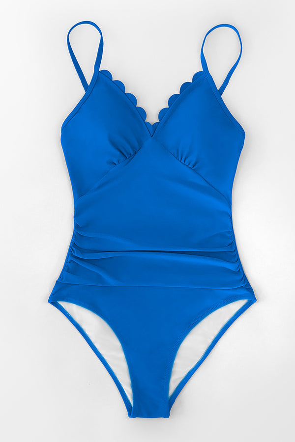 Blue Scallop Trimmed One-Piece Swimsuit