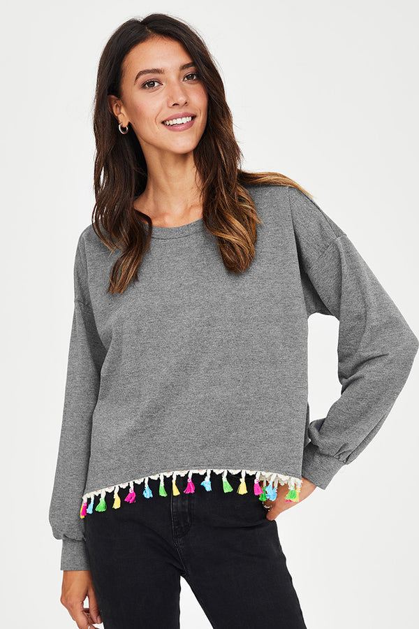 Grey Sweater with Colorful Tassel Trim