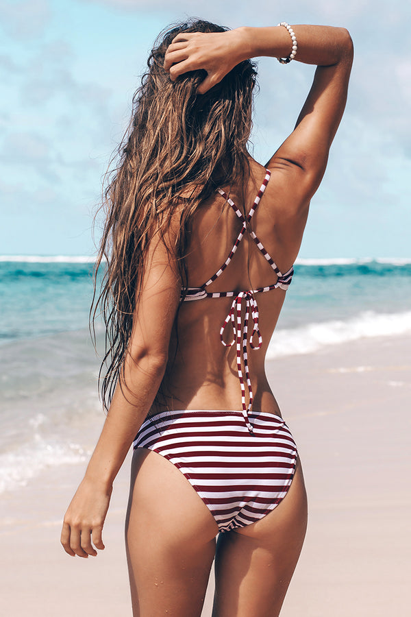 Purple And White Stripe Lace-Up Bikini