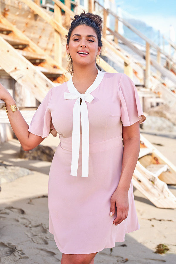 Pink and White Neckline Plus Size Dress