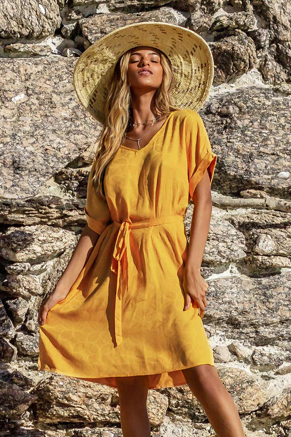 Yellow V-neck Side Slit Dress