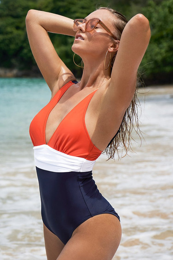 Orange White and Navy Ruching One-Piece Swimsuit
