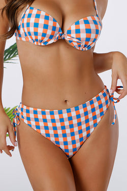 Tricolored Plaid Side Drawstring Bikini Bottom