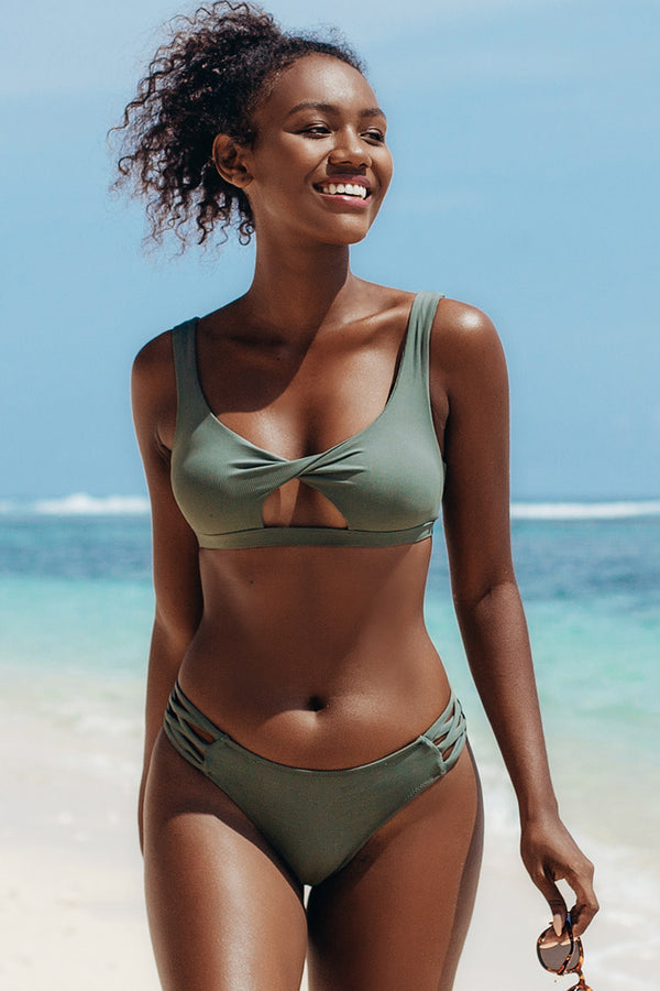 Dusty Green Peekaboo Cutout Bikini