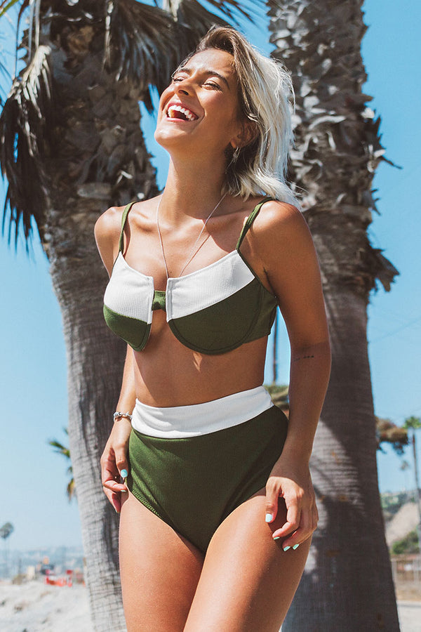 Green With Contrast Trim Bikini
