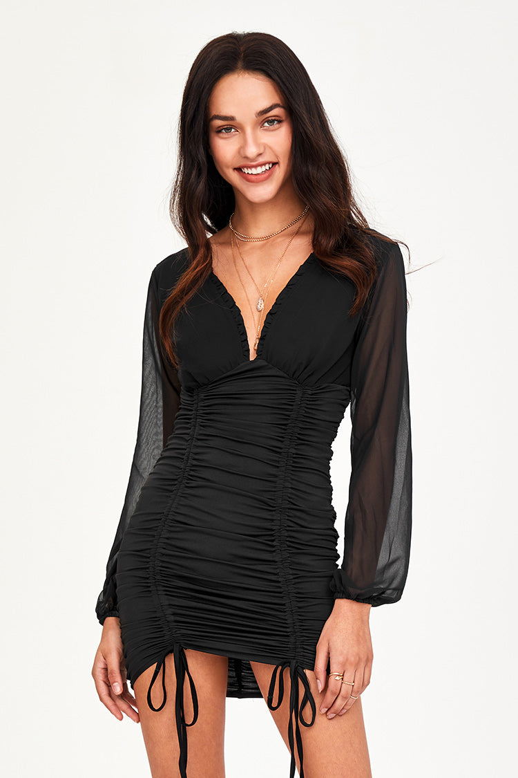 Black Mesh Ruched Mini Dress