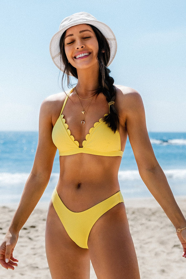 Yellow Halter Scalloped Triangle Bikini