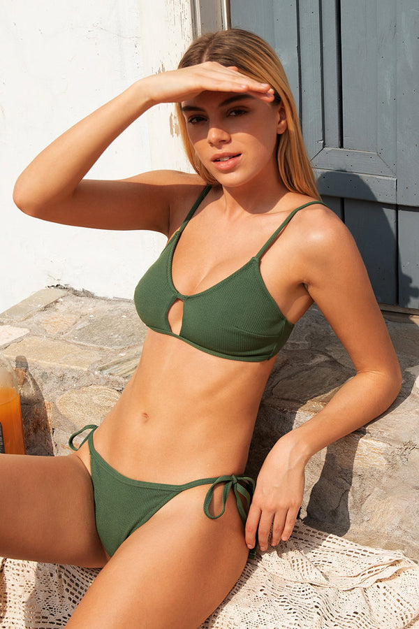 Olive Cut Out Bikini Top