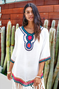 White Cover Up With Colorful Crochet and Fringe Trim