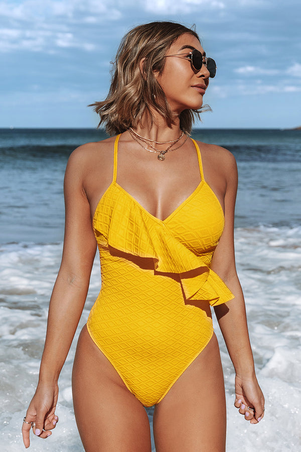 Yellow Ruffle Lace Up Back One-Piece Swimsuit