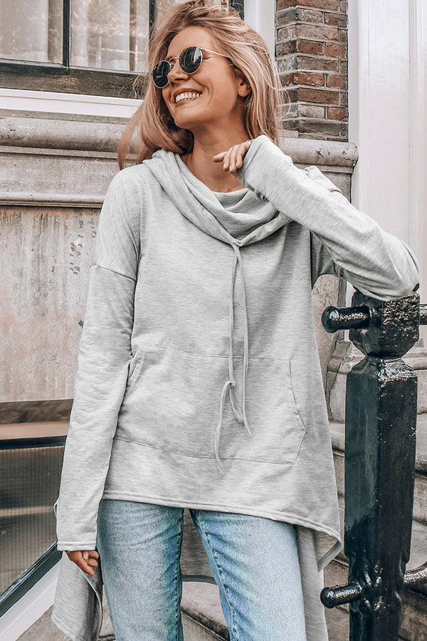 High-Low Drawstring Hoodie