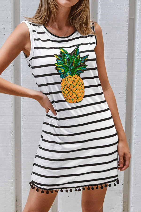 Pineapple Stripe Sleeveless T-Shirt Dress