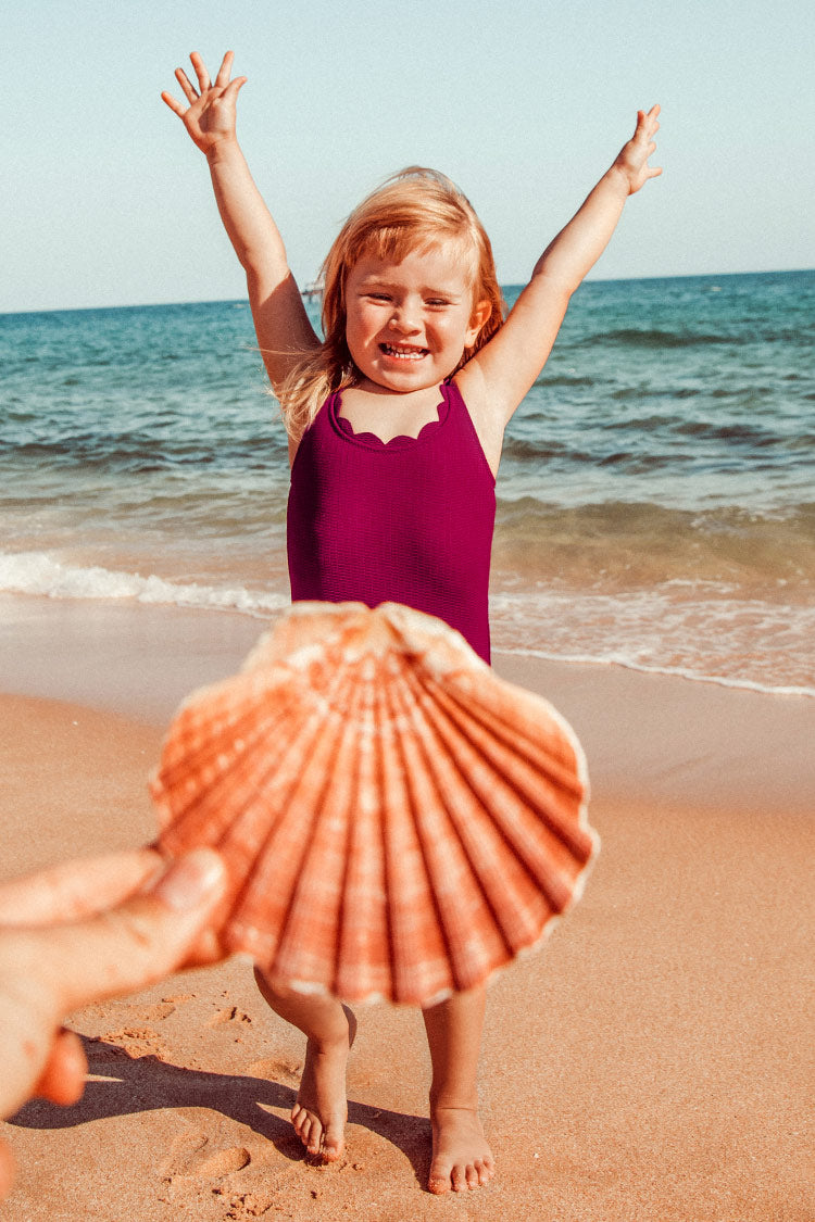 Red Scalloped One-Piece Swimsuit For Toddler Girls and Girls