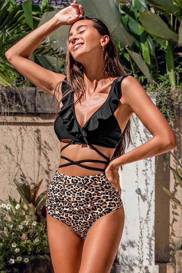 Black and Leopard Falbala Bikini