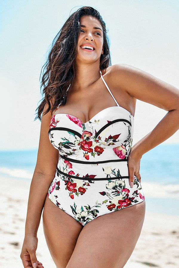 Floral V-neck Plus Size One Piece Swimsuit