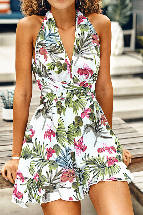White Tropical Print Halter Romper
