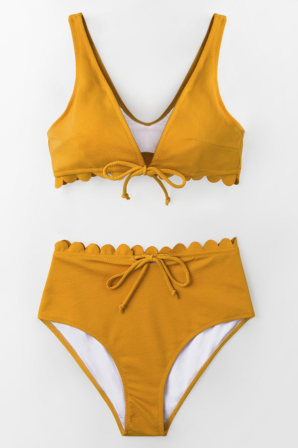 Bright Yellow Tie-Front Scalloped Bikini