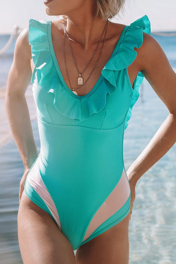 Ruffled Aqua One-Piece Swimsuit