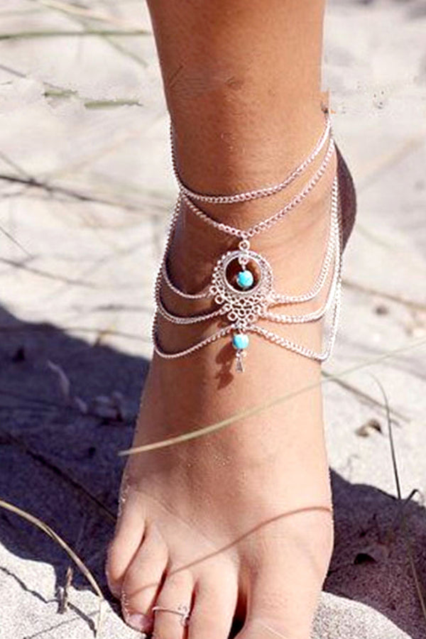 Bohemian Multi-Chain Anklet with Turquoise Beads