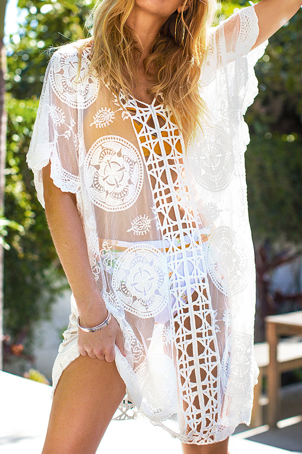 White Lace V-Neck Cover Up