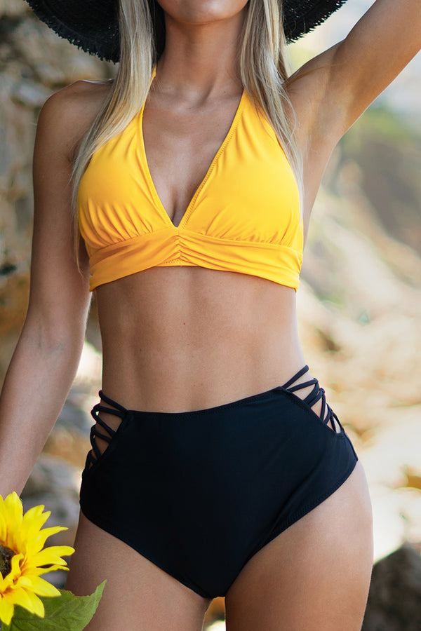 Yellow Halter and Black High-Waisted Bikini