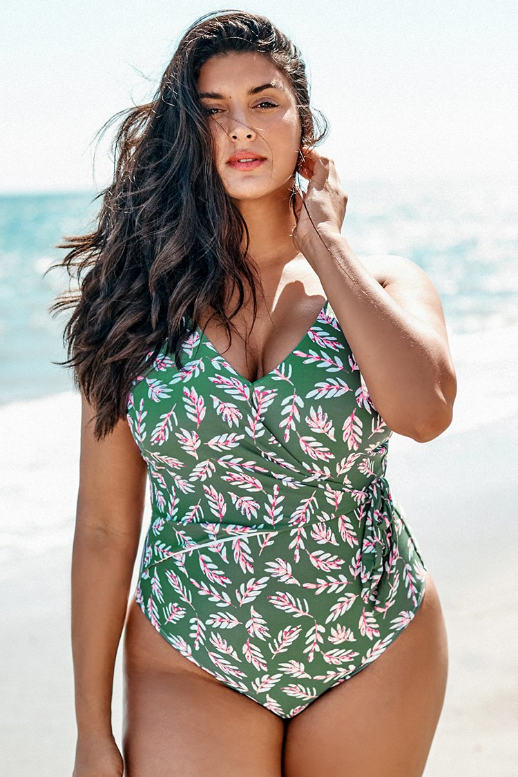 Leafy V-Neck Print Plus Size One Piece Swimsuit