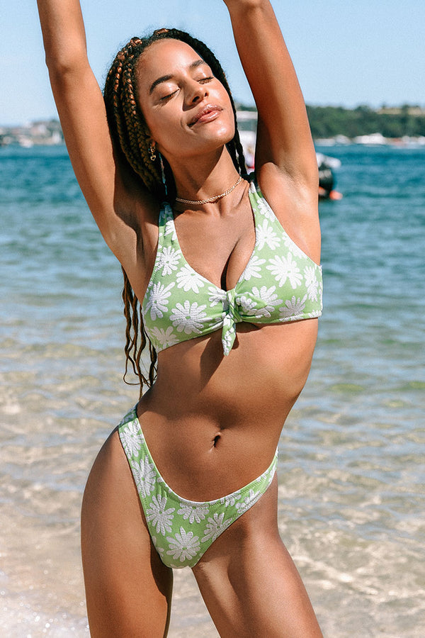 Light Green Floral Knotted Tank Bikini Top