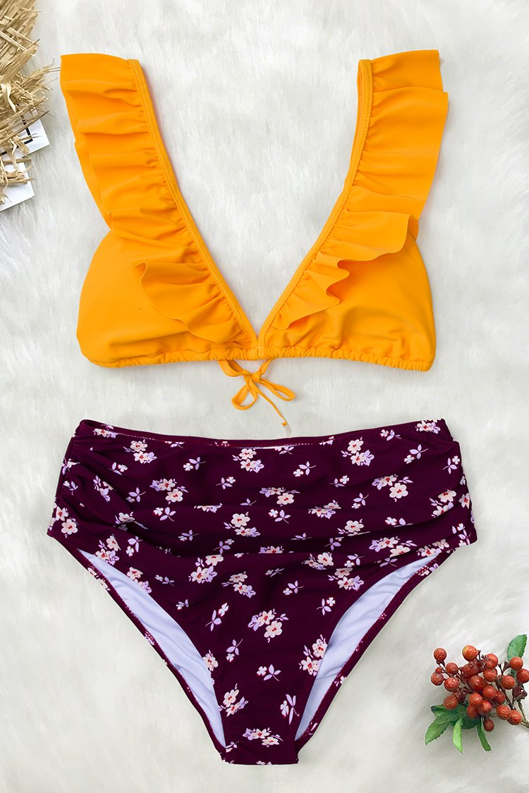 Yellow And Purple Ruffled Bikini