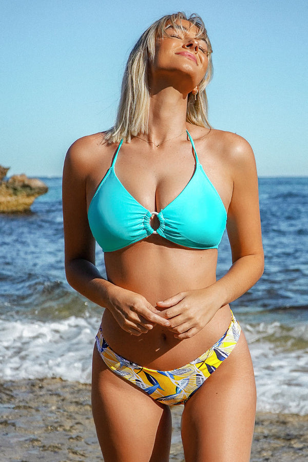 Blue and Leafy O-Ring Bikini