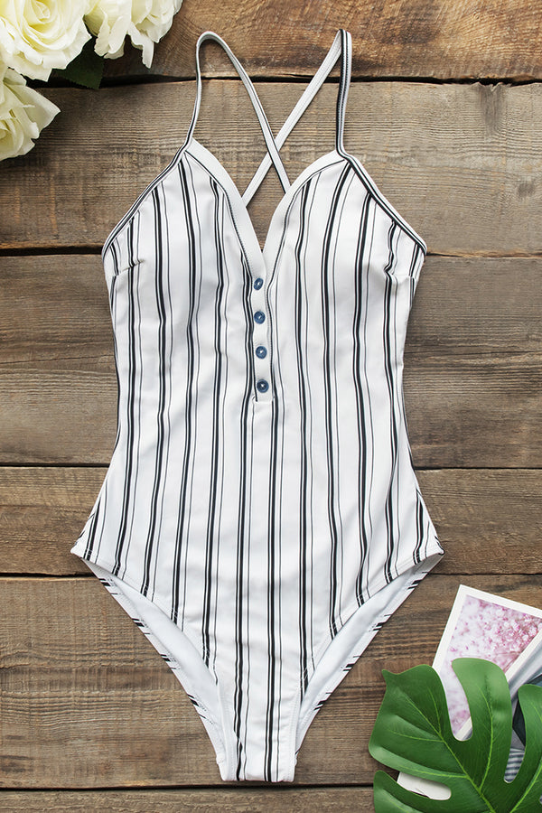 Vertical Stripe Print One Piece Swimsuit