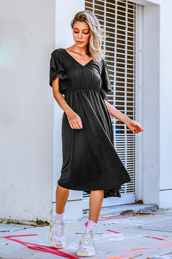 Black V-Neck Pleated Dress