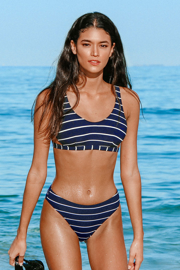 Callie Striped Lace Up Bikini