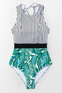 Black Striped And Leafy One-piece Swimsuit