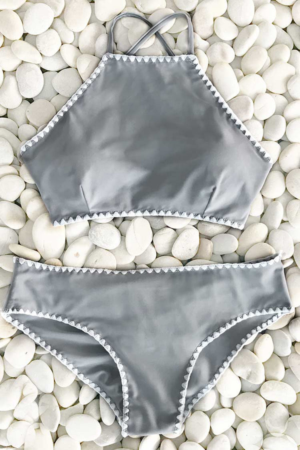 Collect Shells At Beachside Cross Bikini Set