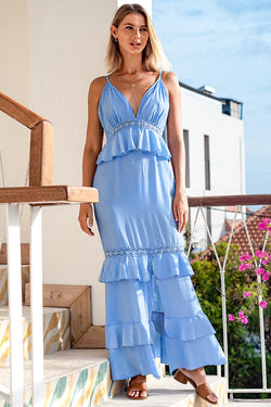 Blue Solid Ruffled Vacation Dress