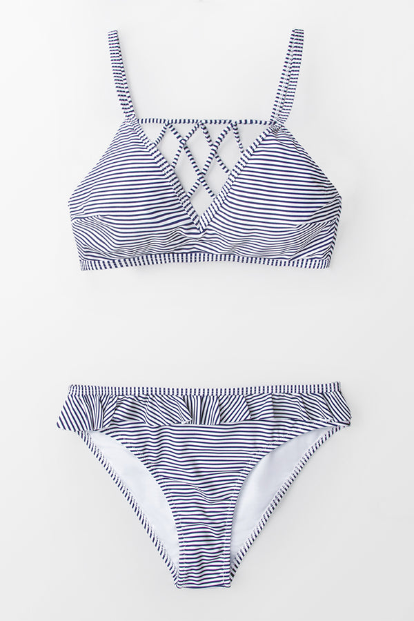Blue And White Stripe Strappy Bikini
