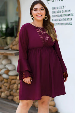 Red Ruffled Sleeve Plus Size Dress