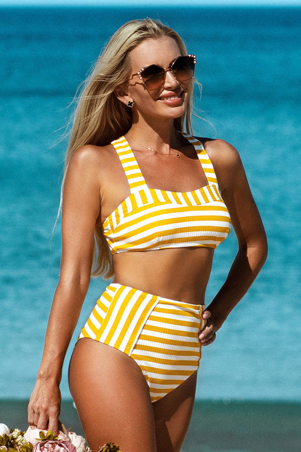 Yellow Striped Ribbed Bikini