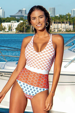 Beautiful World Print One Piece Swimsuit
