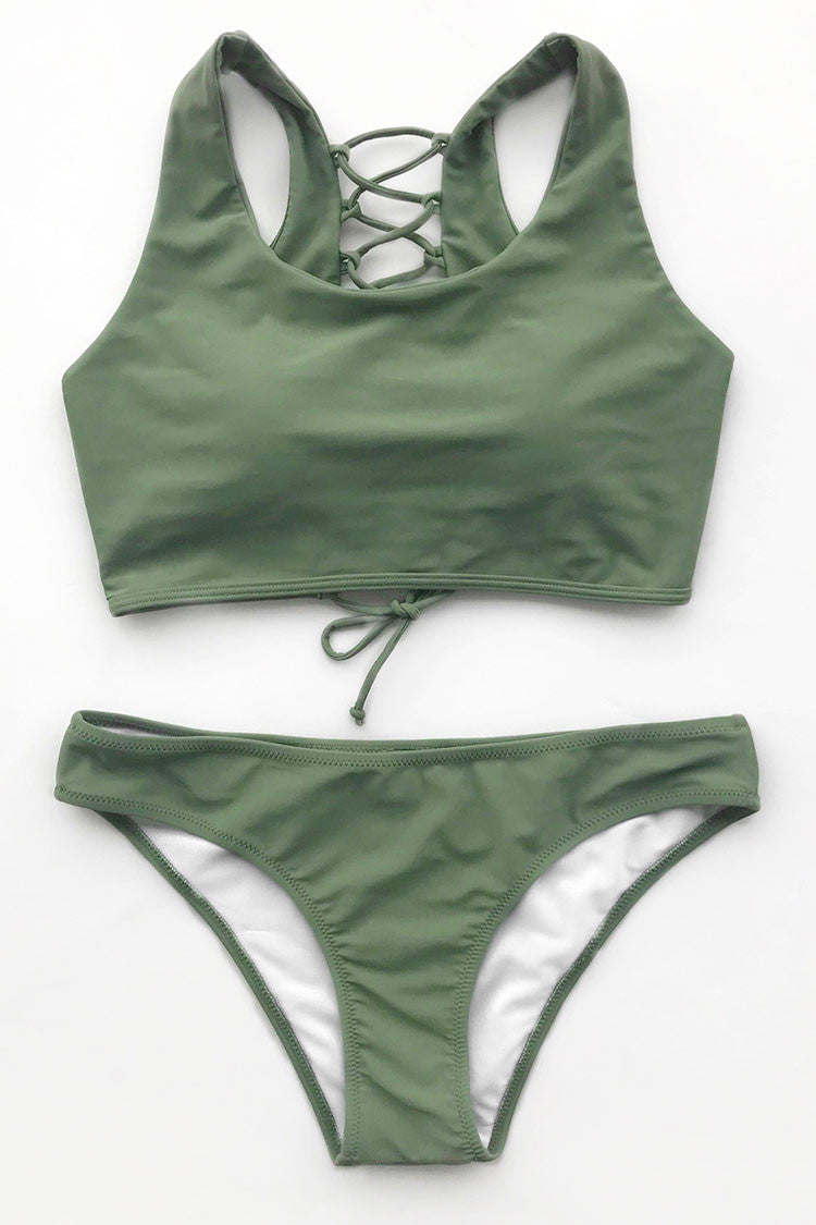 Catch the cabana boys doing a double-take when you walk by with Your Olive Green Bikini Set! Product Code CYY934 Details With padding bra Tank top Lace up at back Regular wash Fabric Chinlon Reference model try on SIZE M, height 5\'8, weight 150 lbs, bust 36C SIZE(IN) US UNDERBUST WAIST HIP S 4/6 25.9 29.1 30.7 M 8/10 27.6 30.7 32.3 L 12/14 29.1 32.3 33.9 XL 16/18 30.7 33.9 35.4 XXL 20 32.3 35.4 37 size chartplease allow 0.4-0.8 differs due to manual measurement Swim Top Sizing Guide S M L XL XXL 32C 34C 36C 38D 40A 32D 34D 36D 40B 40B 34A 36A 38A 40C 40C 34B 36B 38B 40D 40D