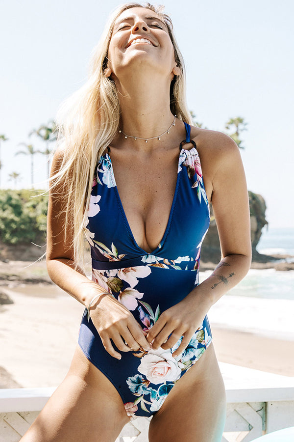 Blue Floral Strappy One Piece Swimsuit