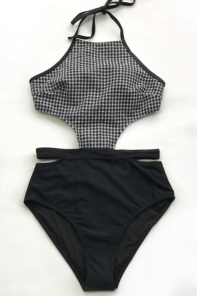 Black and White Gingham One-Piece Swimsuit