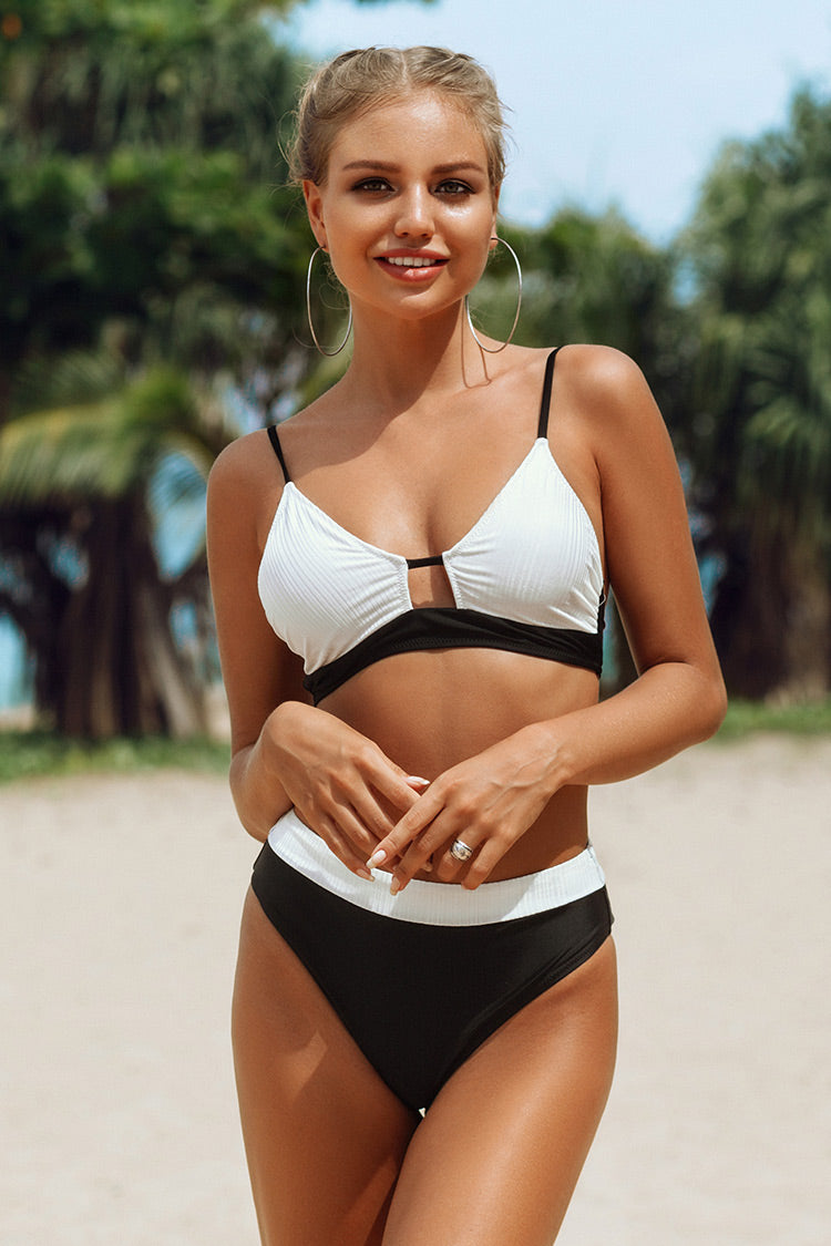 Black and White Colorblock Bikini